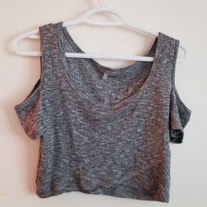 Knit Cold Shoulder Crop Top